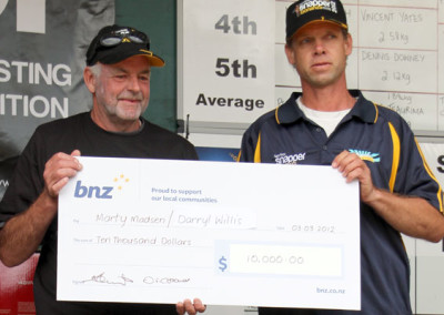 Just like 2011 the average weight overall was shared by Darryl Willis and Marty Madsen their 1.625kg snappers earning $5,000 each.