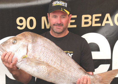 New contest record and overall heaviest snapper winner Darin Maxwell from Te Puke with 12.030kg landed Wednesday.