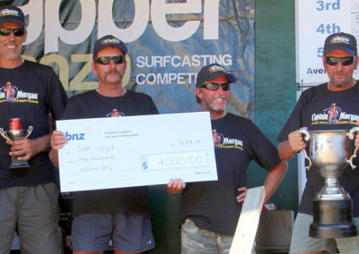 Overall Team Winners (from right) Dan Lloyd, Steve Doak, Dave Lloyd and Mouse Gamble won $4,000 and the World Cup Trophy