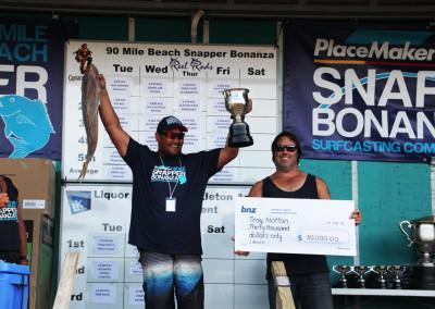 Troy Notton - Overall Heaviest Snapper Winner 2015.